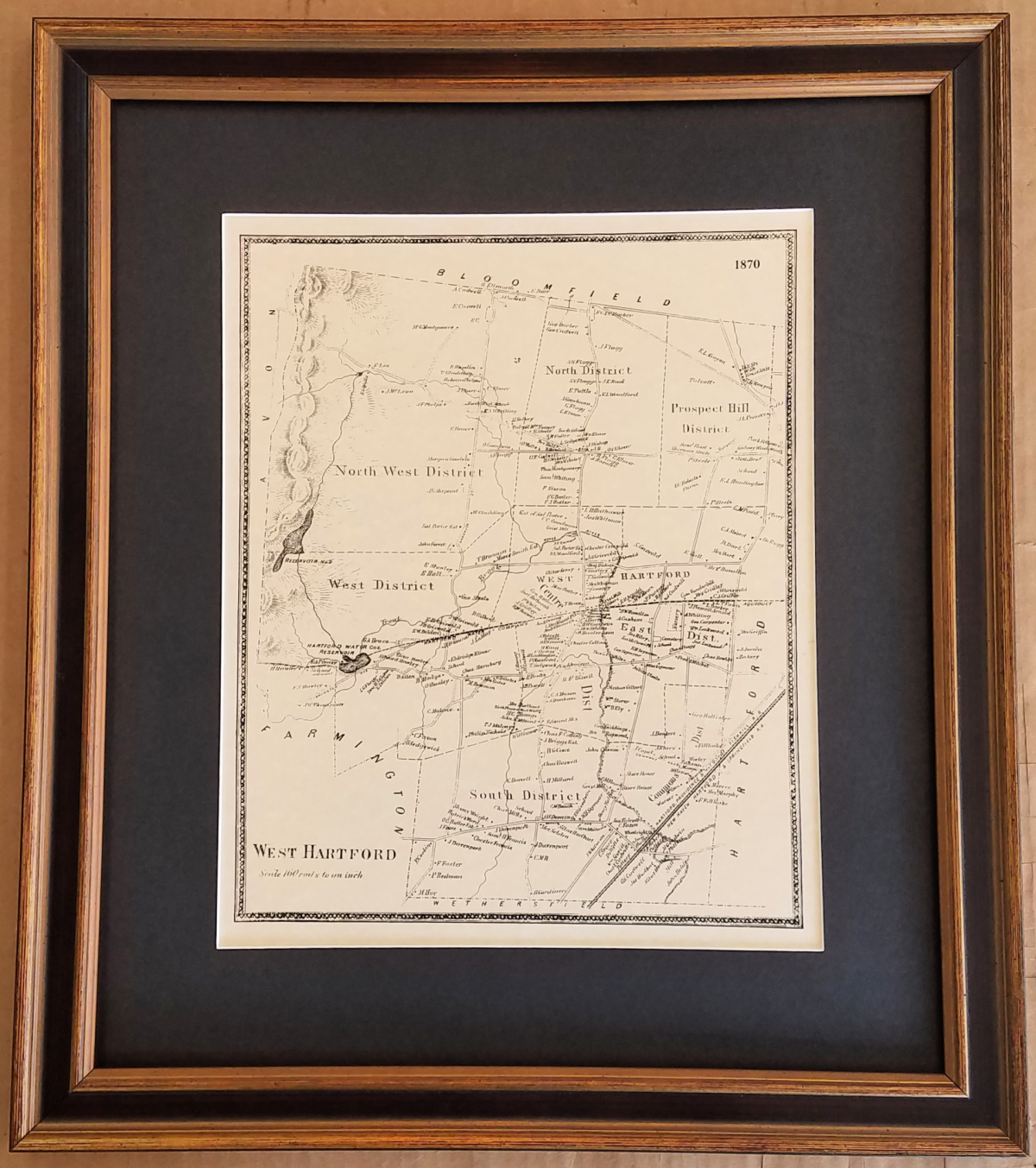 Antique Map of West Hartford Connecticut
